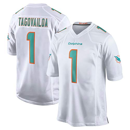 Herren Rugby-Trikot Tua Tagovailoa # 1 Miami Dolphins American Football-Trikot, Jugend-Rugby-Weste-Trikot, Sport-Kurzarm-Sweatshirt-Fitness-Trikot-White-3XL
