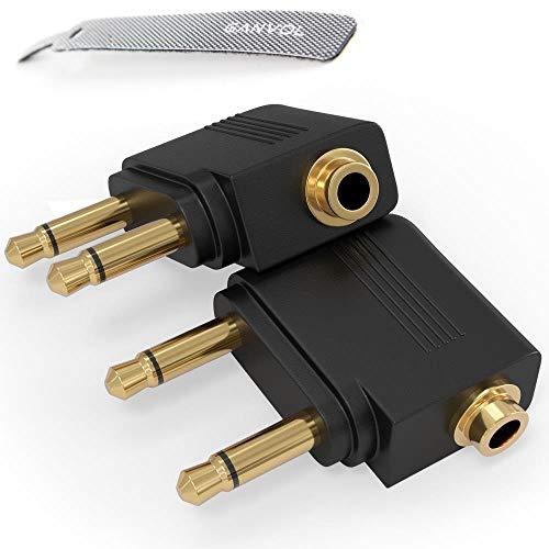 Ganvol 2er Set Vergoldete Flugzeug-Adapter für Kopfhörer, konvertiert Zwei 3,5 mm Buchse Mono auf einen 3,5 mm Stereo Klinkenstecker, Flugzeug-Audio-Buchsen