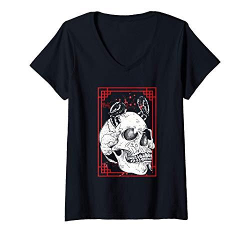 Mujer Arte de la máscara facial del demonio japonés Harajuku Camiseta Cuello V
