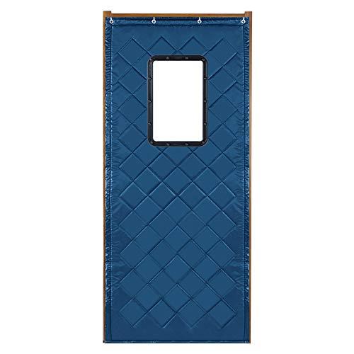 WUFENG Deau De Porte Épaissir Coton Isolation Isolation Robuste Coupe-vent Avec Fenêtre, 2 Couleurs 19 Tailles (Couleur : Bleu, taille : 90x220cm)