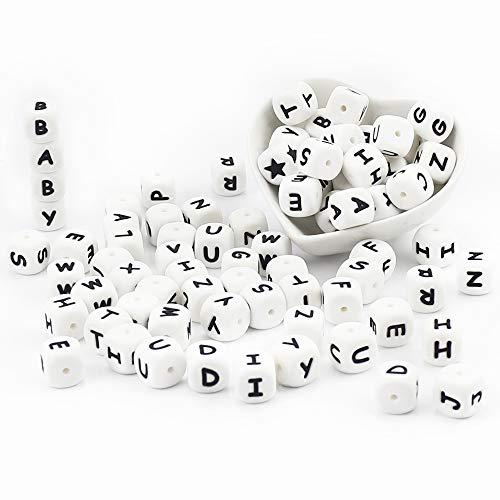 ARTESTAR 100 Stück Silikon Schnullerketten Alphabet Perle Zahnen Brief Beißring Perlen Zubehör für Schnullerkette DIY Pflege Halskette Basteln Zubehör für Baby Jungen & Mädchen