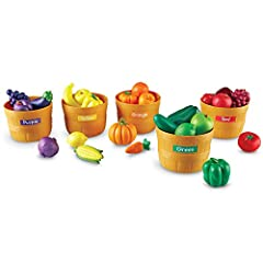 Develop color recognition and sorting skills with bushels of realistic produce Expand vocabulary by naming familiar favorites and learning new foods Includes 25 foods in 5 different colors, 5 baskets, activity guide, and stickers for labeling Winner ...