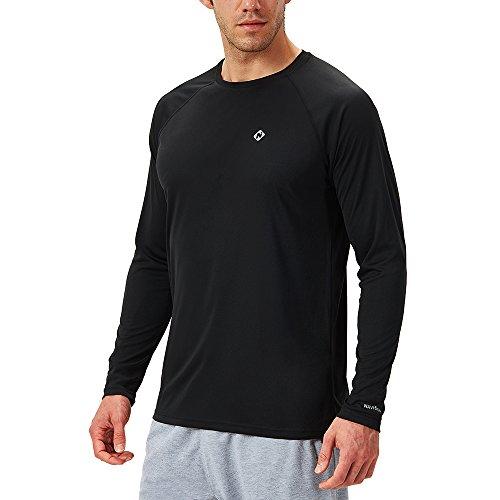 NAVISKIN Maglietta a Maniche Lunghe da Uomo Maglia T-Shirt Shirt Top per Casa e Palestra, Maglia Anti-Sudore Perfetto per Allenamento, Running, Corsa, Casual, Yoga ECC, Nero,XL