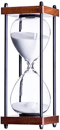 Bellaware Large Hourglass Timer, 30 Minutes Wooden Sand Timer, Decorative Sandglass, Black