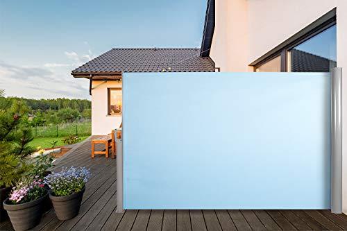 CCLIFE Tenda da Sole Laterale Alluminio Tenda Paravento per Esterno, Protezione da Sole da Giardino, Tendalino per Patio Terrazzo, Dimensione:180x300cm, Colore:Azzurro