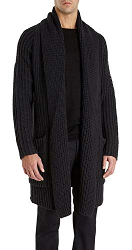 Enjoybuy Mens Shawl Collar Cardigan Sweaters Open Front Cable Knit Long Trench Coats with Pockets