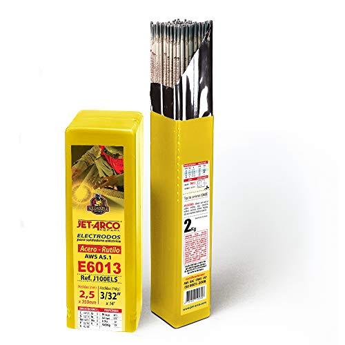 Electrodo Rutilo E6013 para soldadura de Acero al Carbono, Hierro, Ø 2,5 x 350mm. 2kg, 100 varillas aprox. JET-ARCO España. Ref.: J100ELS