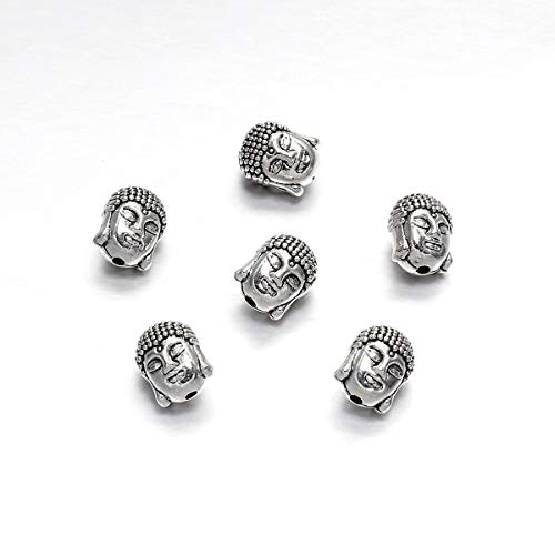 10pcs/Pack Antique Gold/Silver Charm Pendants Buddha Sparta Leopard Lion Heads Spacer Beads Supplies for Jewelry Finding Making DIY Bracelet Necklace (Silver Buddha-1)