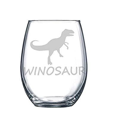 Winosaur Etched T-Rex Wine Glass