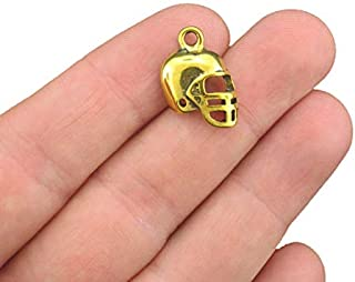 Bulk 40 Football Helmet Charms Antique Gold Tone - GC258