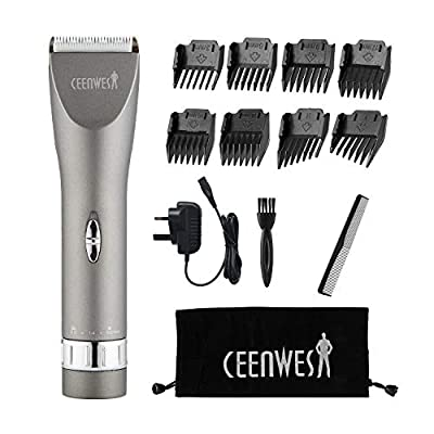 Ceenwes Updated Version Professional Hair Clippers Cordless Haircut Kit Rechargeable Hair Trimmer Haircut Grooming kit with 8 Combs & Carrying Bag for Men/Father/Husband/Boyfriend by Ceenwes