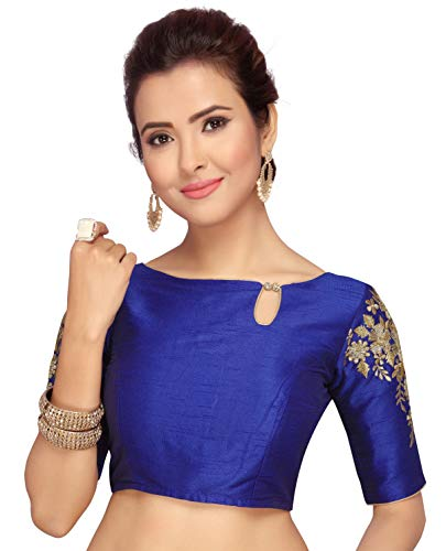 Studio Shringaar Women's Poly Raw Silk Stitched Sleeves Embroidery Saree Blouse (S2089RB38, Royal Blue, 38)
