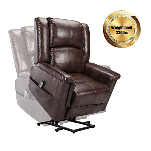 Power Lift Chair Recliner Sofa for Elderly PU Leather Heated Vibration Massage...