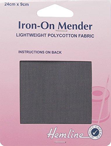 Hemline réparation Polycoton Fer Sur/le raccommodage tissu gris foncé 24 x 24 x 9 cm