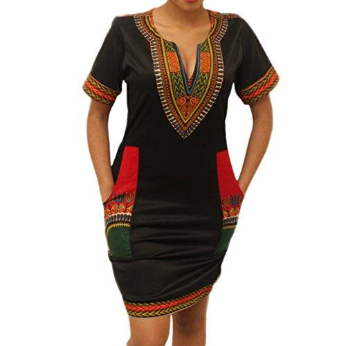 LAEMILIA Damen Traditionelle Afrikanische Druck Kurzarm V-Ausschnitt Bodycon Wide Dashiki Ethnisch Gedrucktes Tunikakleid Sommer Kleider Party (L(40), Schwarz)