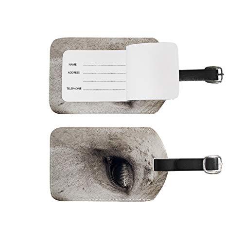 Etiquetas de equipaje para nombre de dirección, 2 unidades de etiquetas de identificación portátiles con diseño de cuadros, bolsa de regalo, para maletas, equipaje, caballo blanco