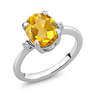 Gem Stone King 925 Sterling Silver Yellow Citrine and White Topaz Gemstone Birthstone Women's Ring (2.52 Ct Oval Cut) (Size 8)