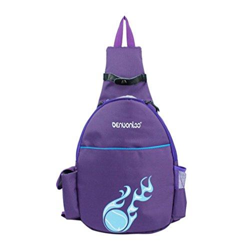 Klau Tennis Racquet Backpack, Nylon Tennis Racket Cover Outdoor Sports Bag Purple for Children Teenagers Tennis Beginners
