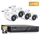 BNT 8CH 5MP PoE Wired Outdoor Security Camera System, 4pcs Wired 5MP PoE Outdoor IP Cameras, 4K 8-Channel NVR Security System with 2TB HDD for 24/7 Camera Recording