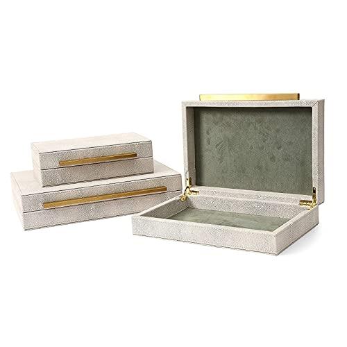 MZIKO Cajas Decorativas de Cuero Faux Ivory, Conjunto de 3 PCS Organizador de joyería, Cajas de Almacenamiento, Organizador de Accesorios para Mujeres para Hombre (Size : 3 Pieces)