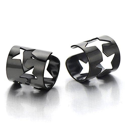 2 Pezzi Negro Colore Clip de Oreja con Estrella, Clip-on Pendientes del Aro, para Hombres Mujer, Acero Inoxidable