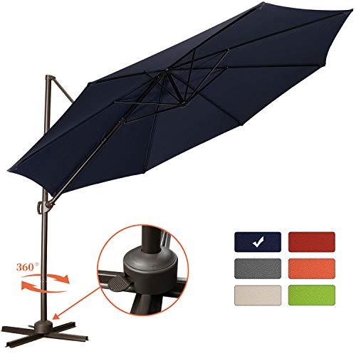 Patio Offset Cantilever Umbrella 10-Feet Outdoor Patio Hanging Umbrella,360 Degree Rotation with Cross Base (10 FT, Navy)
