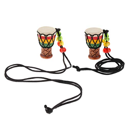 2 x Mini Ethnische Afrikanische Trommel Anh/änger Halskette B