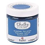 RAYHER HOBBY 38868374 Chalky Finish auf Wasser-Basis, Kreide-Farbe für Shabby-Chic-, Vintage- und Landhaus-Stil-Looks, 236 ml, azurblau