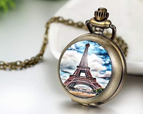 JewelryWe Herren Damen Taschenuhr, Romantisch Eiffelturm blauen Himmel Uhr Anhänger Analog Quarz Kettenuhr Pullover Halskette Kette, Mehrfarbig