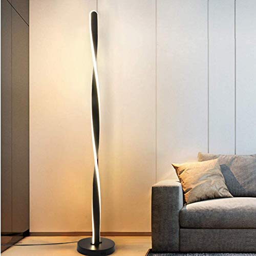 ZJJZ Lámparas de pie LED para Sala de Estar, Regulables con Control Remoto, luz de Lectura Minimalista y Moderna de Aluminio para el Cuidado de los Ojos, para Dormitorio, Oficina, 3000 K-6000 K,