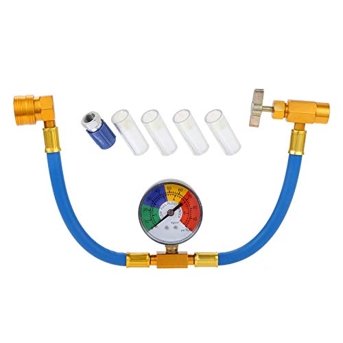 Aupoko R134A AC Refrigerant Recharge Hose Kit, Auto AC Recharge Kit, R12 to R134A Low Pressure Retrofit Valve with Dust Cap, and Oil Detection Cottons for AC Air Conditioning Refrigerant System