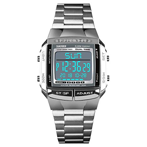 JTTM Reloj De Pulsera Digital para Hombre De Acero Inoxidable, Resistente Al Agua, con Función De Temporizador Y Cronógrafo,Plata