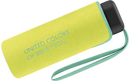 Benetton Regenschirm Schirm Taschenschirm klein flach & leicht (Acid Green)