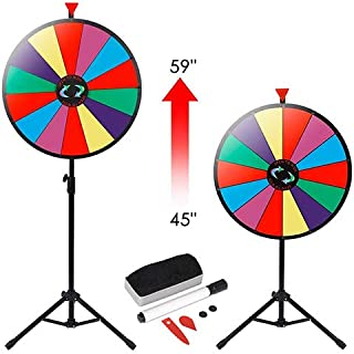 "HomGarden 24"" Color Prize Wheel w/Adjustable Stand 14 Slots Tabletop Editable Classic Spinning Win Prize Wheel Fortune Carnival Spin Game Casino Equipment"