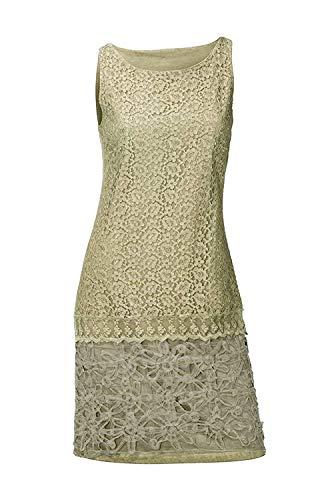 blau-bunt Linea Tesini Damen Designer-Kleid mit Spitze