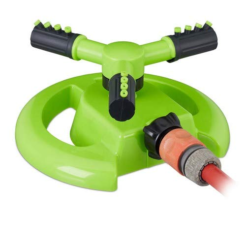 Relaxdays Green Round Circular Sprinkler, for up to 80 m², 8-10 m Range, Rotating, 360°, Lawn Irrigation, Light