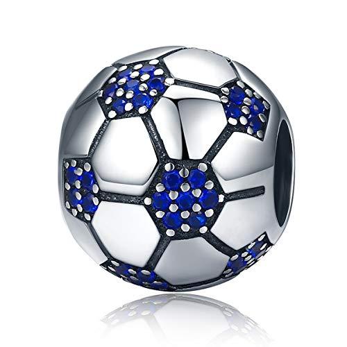 Ciondolo blu a forma di pallone da calcio con zirconi, in argento Sterling 925, per braccialetti Pandora europei
