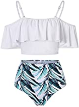 Kaei&Shi Strapless,Strappy Swimwear,Flower High Waisted Flounce Bikini Set,Tummy Control Swimsuits for Women,Off Shoulder Bathing Suit White Small