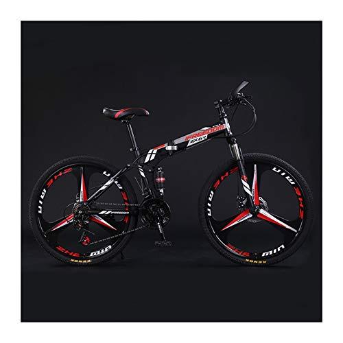 Bicicleta de montaña plegable de 26 pulgadas, bicicletas de montaña de 21 velocidades, freno de disco doble de acero con alto contenido de carbono y scooter de crucero antideslizante de doble suspensi
