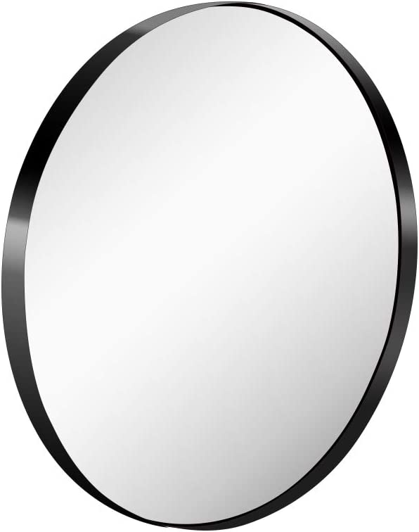 KAASUNES Memphis Mall 30-Inch Finally popular brand Large Wall Mounted Brushed Mirror Premium Round