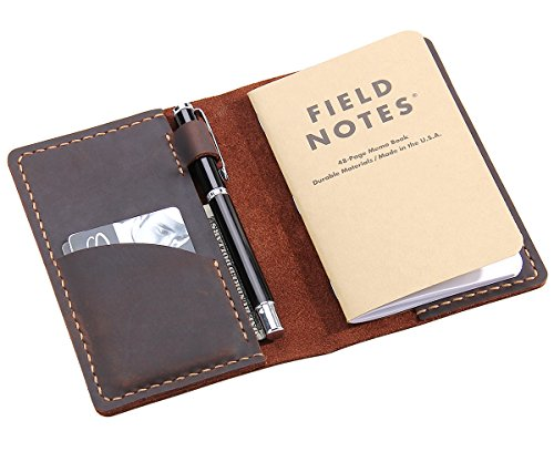 "Leather Journal Cover for Field Notes, Moleskine Cahier Cover, Handmade Vintage Leather Cover for 3.5"" x 5.5"" Notebooks, Coffee"