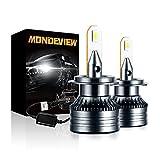 MONDEVIEW Paire Ampoule H7 6000K 60W 16000LM H7 Phare LED Voiture Moto Antibrouillard H7 Led Ventilé Extrêmement Haute Luminosité 360° Rotation IP68 Imperméable Remplacer Lampe Halogène Xénon