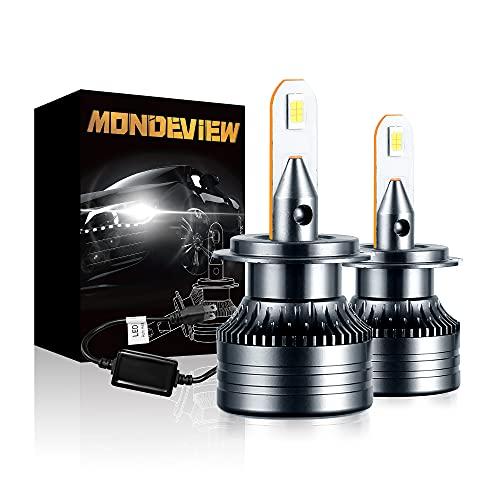 MONDEVIEW Kit Bombilla H7 LED 6000K Bombilla h7 Coche 60W H7 LED Canbus 16000LM Súper Brillo H7 LED Chip CREE IP68 360° Luz de Carretera y Haz Bajo Reemplazo de Halógena y Xenón H7 Garantía de 5 Años
