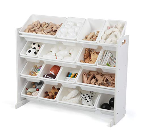Humble Crew Extra-Large Toy Organizer, 16 Storage Bins, White/White