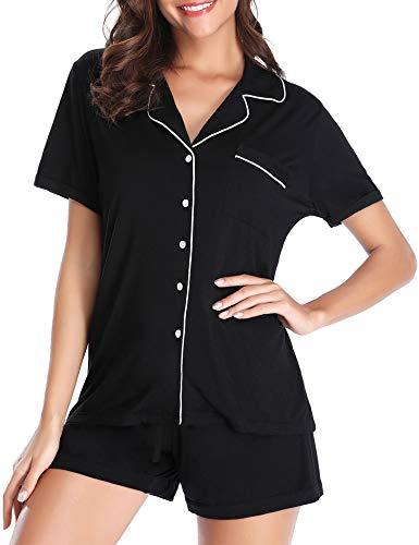 Lusofie Pajama Set for Women Short Sleeve Soft Knit Loungewear with PJ Shorts (Black,M)
