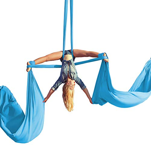 Aum Active Aerial Silks Equipment for Acrobatic Flying Dance, Aerial Yoga - Includes All Hardware, Fabric and Guide (Sky Blue)