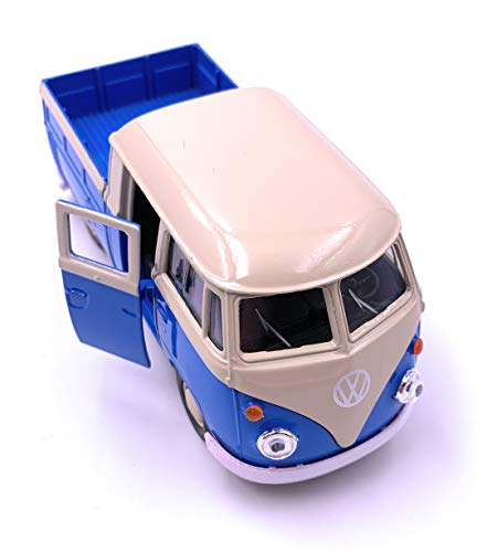 H-Douane Welly Bulli T1 Bus Pick Ups Dubbele Cabine LICENSED PRODUCT 1: 34-1: 39 Blauw