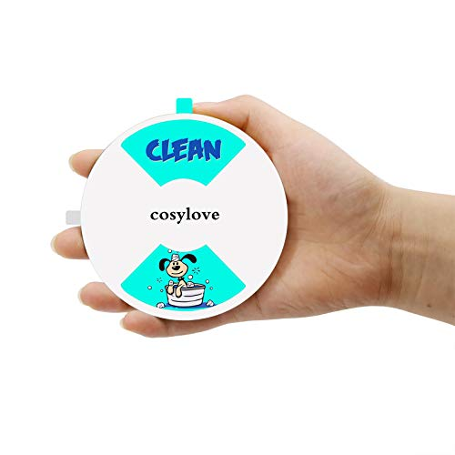 "Clean Dirty Dishwasher Magnet, Round Non-Scratching Magnetic Dishwasher Sign Cute Doggy Pattern Design Kitchen Addition Sliding Dirty Clean Sign Indicator, 4"" Diameter, White"