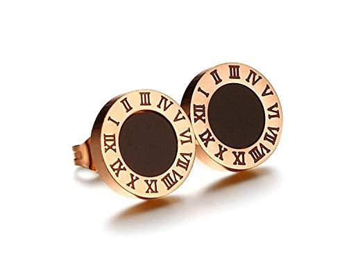 OUHUI Novedad Joyas-Hipoalergénicas Acero inoxidable 316L Pendiente redondo de números romanos para mujer Oro rosa