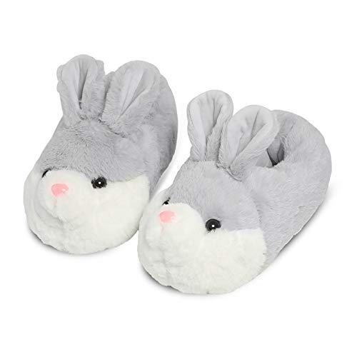YGJT Zapatillas Casa Mujer para Unisexo Antideslizante Slippers Pantufla Cerrada Pelusa Invierno Grueso Forma de Conejo Calentar Gris